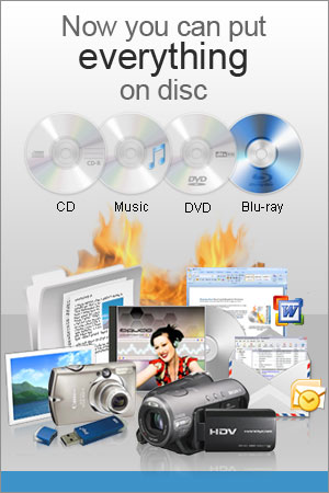 Burn Video and data DVDs and data Blu-ray