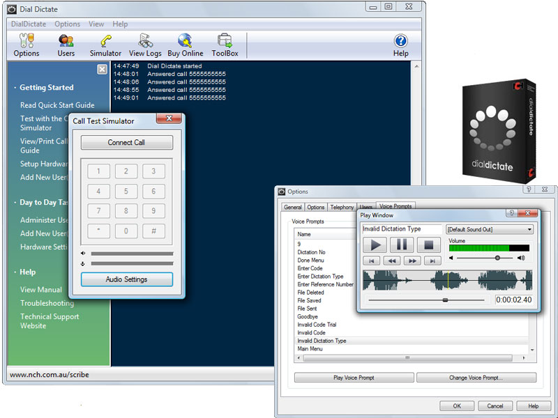 DialDictate Phone Dictation System full screenshot