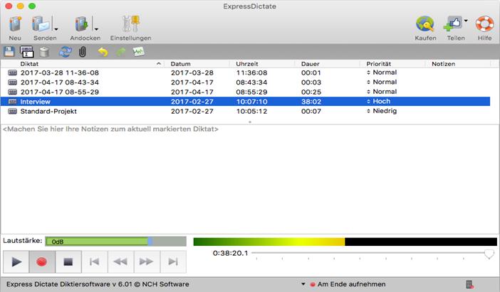 Express Dictate für Mac