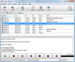 Express Dictate Digital Dictation is a voice recording program that works like a dictaphone. It lets you use your PC to send dictation to your typist by email, internet, or over your local network.