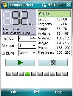 Click to view TempoPerfect Metronome For Pocket PC 3.01 screenshot