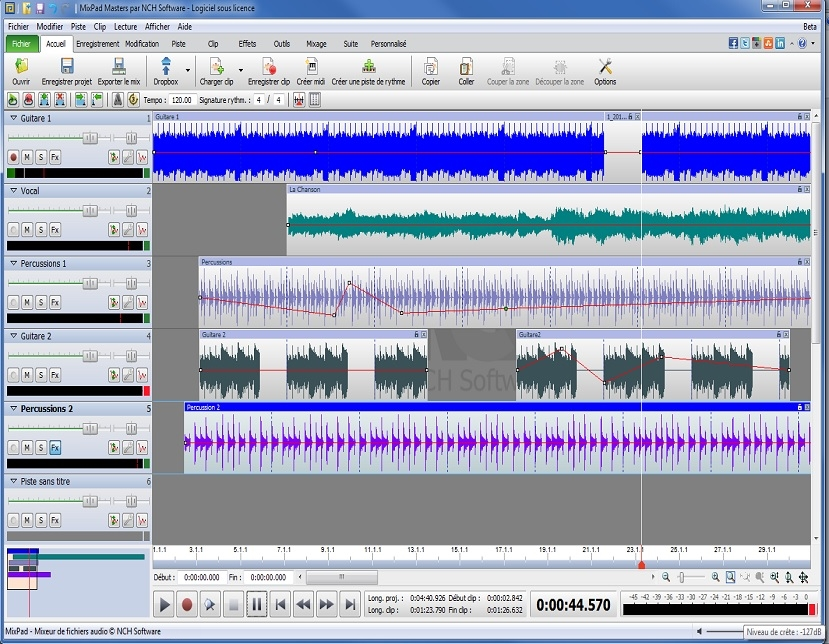 mixpad logiciel de mixage audio multipiste captures d 39 crans. Black Bedroom Furniture Sets. Home Design Ideas