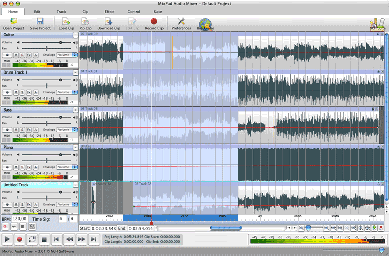 Mac Multi-track MP3 and Audio mixing software