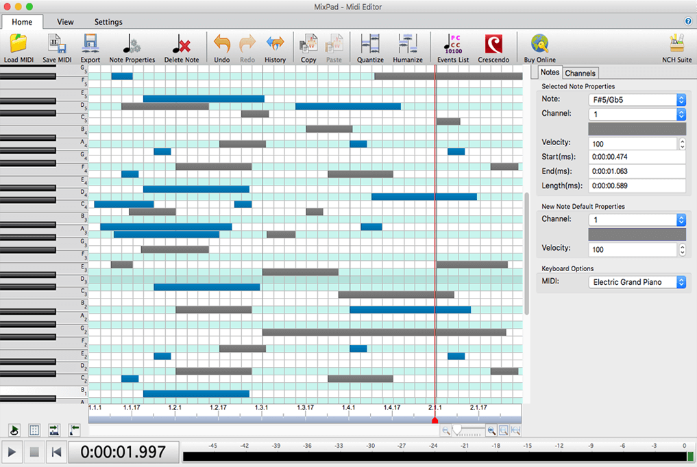 Free Download  MixPad MIDI Recording & Sequencer Software