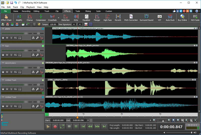MixPad Professional Audio Mixer Screen shot