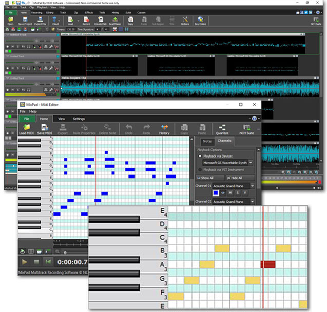 MixPad MIDI editor software