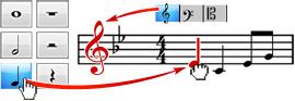 오선보에 음표 및 음악 기호들을 포인트하고 클릭하여 추가