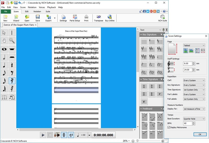 Crescendo music score writing and composing software for Windows. versatile Screen Shot