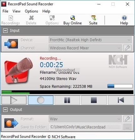RecordPad Sound Recording Software Free 8.01