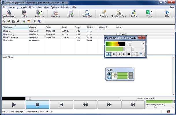Express Scribe Transkriptionssoftware Pro