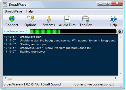 Click to view BroadWave Pro Streaming Audio Server 1.21 screenshot