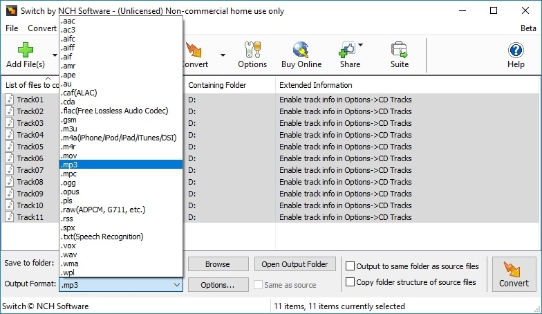 Switch Audio and Mp3 Converter Free full screenshot