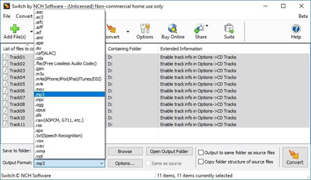 Convert Audio Files To/From All Audio Formats with Switch
