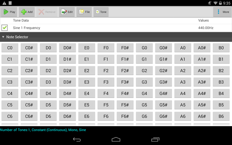 ToneGen Pro Edition for Android full screenshot