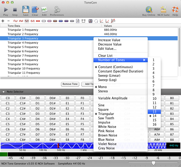 ToneGen Tone Generator for Mac 3.22