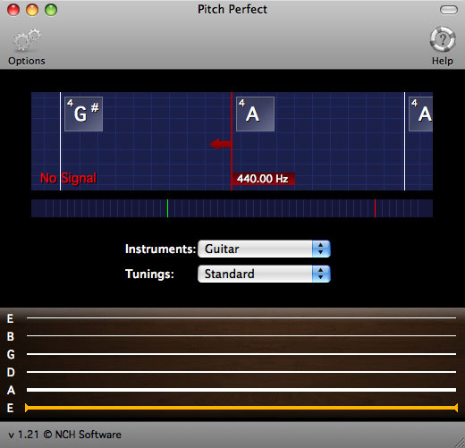 Screenshot of PitchPerfect Free Guitar Tuner for Mac 2.15