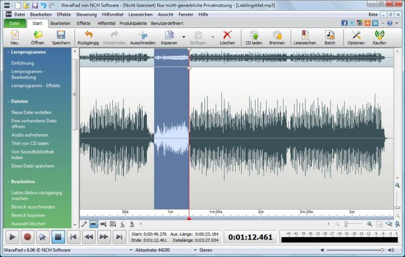 Wavepad Audiobearbeitungs-Software full screenshot