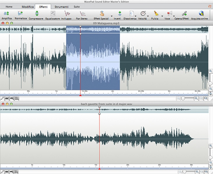 Wavepad Editor Audio Gratis per editare registrazioni audio e vocali su Mac OS X