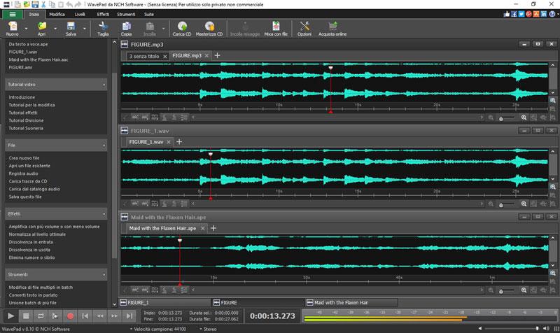Schermate di wavepad software di editing audio for Software per rendering
