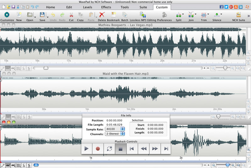 Wavepad Audio Editor Free for Mac full screenshot