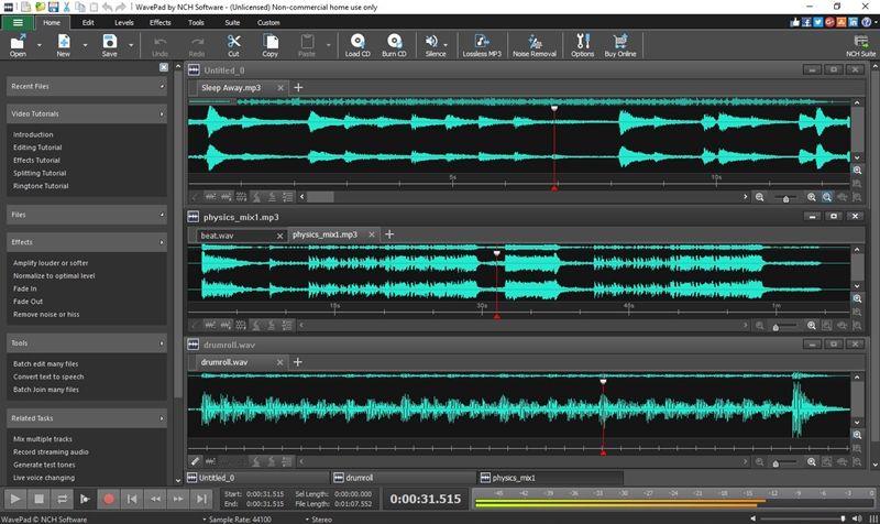 WavePad Masters Edition is used to record and edit audio on a Windows PC. recent Screen Shot