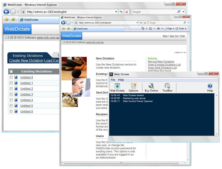 Web Dictate Online Dictation Software screenshot